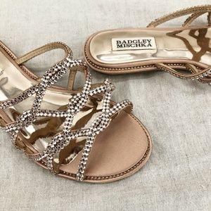 BADGLEY MISCHKA Satin Sofie Embellished Sandals
